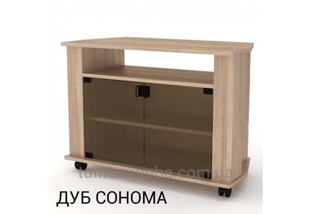 Фото недорогая современная напольная тумба под телевизор и аппаратуру Титан-2 ДСП в цвете Дуб Сонома дешево от производителя с доставкой по всей Украине