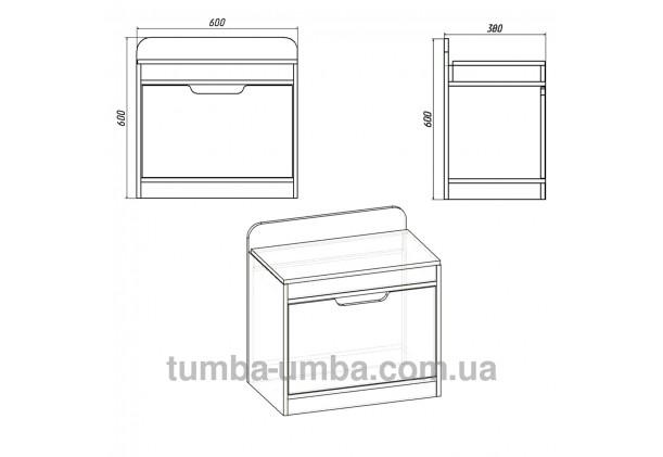 фото размеров недорогой современной тумбы для обуви ТО-8 Компанит в прихожую в интернет-магазине мебели эконом-класса TUMBA-UMBA™