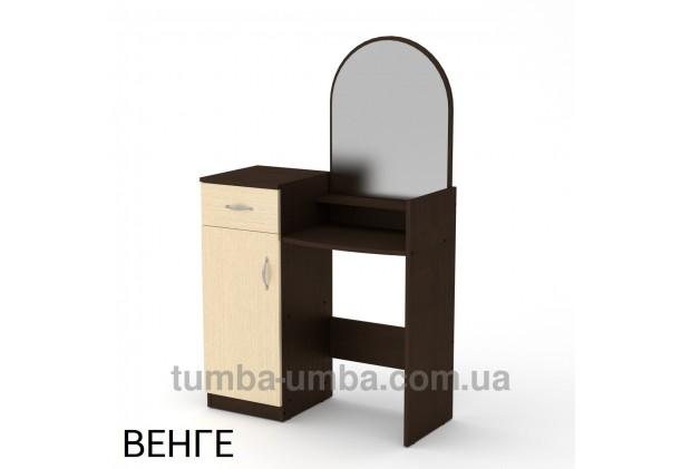 Фото женский туалетный столик-1 с зеркалом и тумбами для косметики в спальню или прихожую в цвете венге дешево от производителя с доставкой по всей Украине