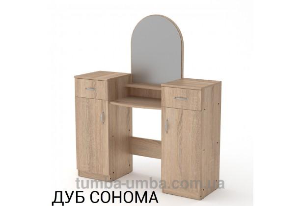 Фото женский туалетный столик-2 с зеркалом и тумбами для косметики в спальню или прихожую в цвете дуб сонома дешево от производителя с доставкой по всей Украине