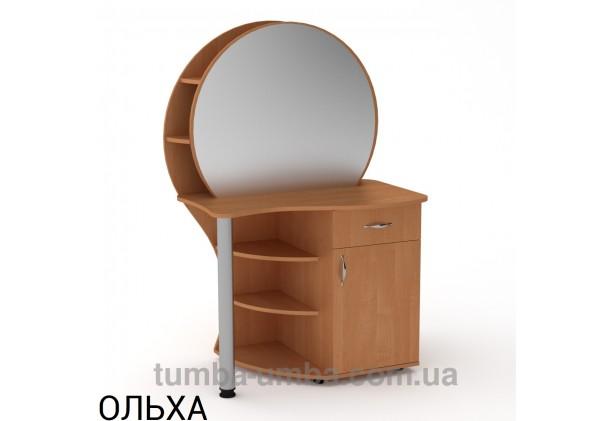 Фото женский туалетный столик-3 с зеркалом и тумбами для косметики в спальню или прихожую в цвете ольха дешево от производителя с доставкой по всей Украине