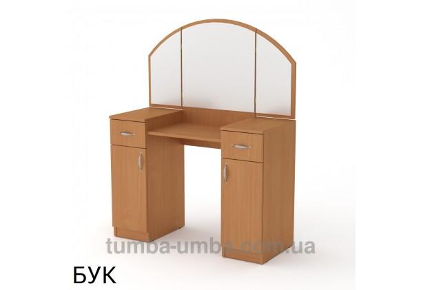 Фото женский туалетный столик-4 трельяж с зеркалами и тумбами для косметики в спальню или прихожую в цвете бук дешево от производителя с доставкой по всей Украине