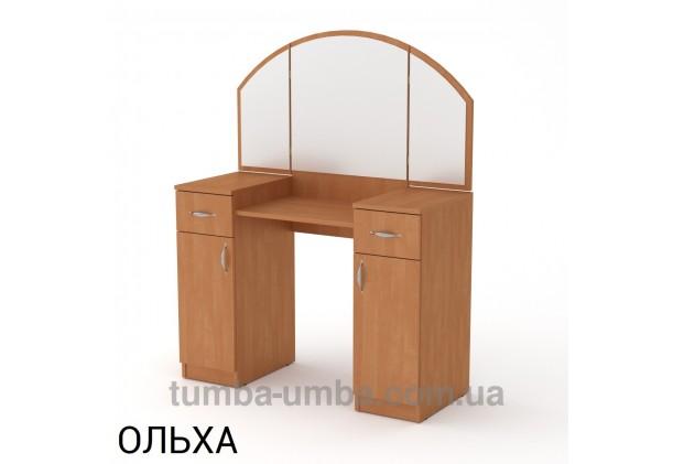 Фото женский туалетный столик-4 трельяж с зеркалами и тумбами для косметики в спальню или прихожую в цвете ольха дешево от производителя с доставкой по всей Украине