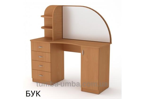 Фото женский туалетный столик-6 с зеркалом и тумбами для косметики в спальню или прихожую в цвете бук дешево от производителя с доставкой по всей Украине