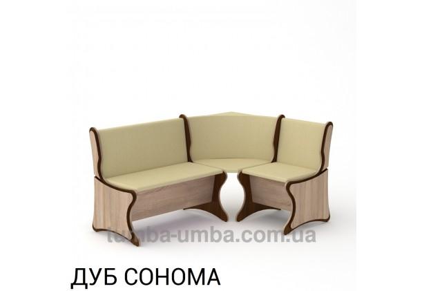 Фото недорогой простой стандартный угловой кухонный диванчик Аргентина ДСП с нишами для хранения для дома, дачи или бани в цвете дуб сонома дешево от производителя с доставкой по всей Украине