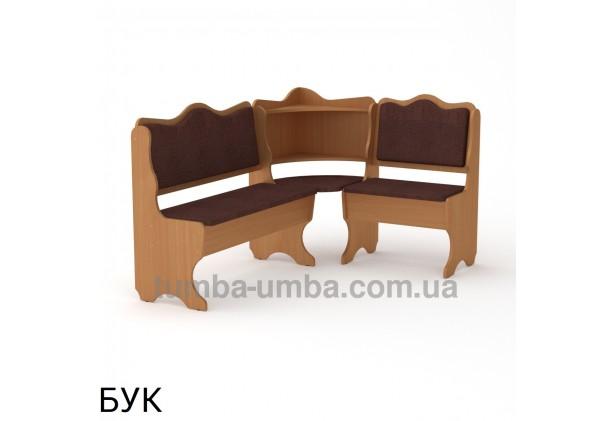 Фото недорогой простой стандартный угловой кухонный диванчик Дакар ДСП с нишами для хранения для дома, дачи или бани в цвете бук дешево от производителя с доставкой по всей Украине