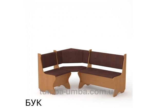 Фото недорогой простой стандартный угловой кухонный диванчик Кипр ДСП с нишами для хранения для дома, дачи или бани в цвете бук дешево от производителя с доставкой по всей Украине