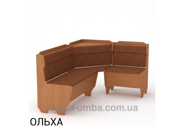Фото недорогой простой стандартный угловой кухонный диванчик Корсика ДСП с нишами для хранения для дома, дачи или бани в цвете ольха дешево от производителя с доставкой по всей Украине