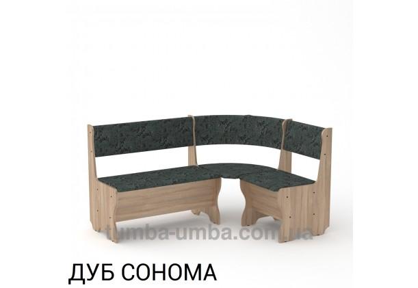 Фото недорогой простой стандартный угловой кухонный диванчик Мальта ДСП с нишами для хранения для дома, дачи или бани в цвете дуб сонома дешево от производителя с доставкой по всей Украине