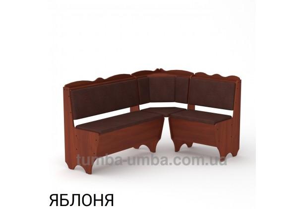 Фото недорогой простой стандартный угловой кухонный диванчик Родос ДСП с нишами для хранения для дома, дачи или бани в цвете яблоня дешево от производителя с доставкой по всей Украине
