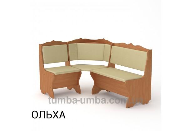 Фото недорогой простой стандартный угловой кухонный диванчик Сирия ДСП с нишами для хранения для дома, дачи или бани в цвете ольха дешево от производителя с доставкой по всей Украине