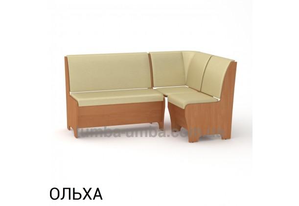 Фото недорогой простой стандартный угловой кухонный диванчик Тунис ДСП с нишами для хранения для дома, дачи или бани в цвете ольха дешево от производителя с доставкой по всей Украине