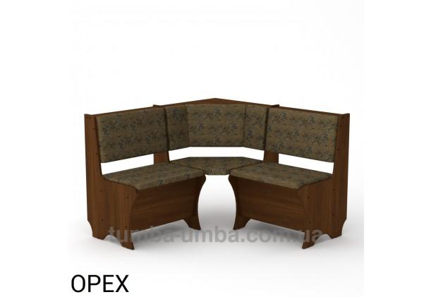 Фото недорогой простой стандартный угловой кухонный диванчик Эквадор ДСП с нишами для хранения для дома, дачи или бани в цвете Орех Экко дешево от производителя с доставкой по всей Украине