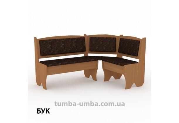 Фото недорогой простой стандартный угловой кухонный диванчик Дания ДСП с нишами для хранения для дома, дачи или бани в цвете бук дешево от производителя с доставкой по всей Украине