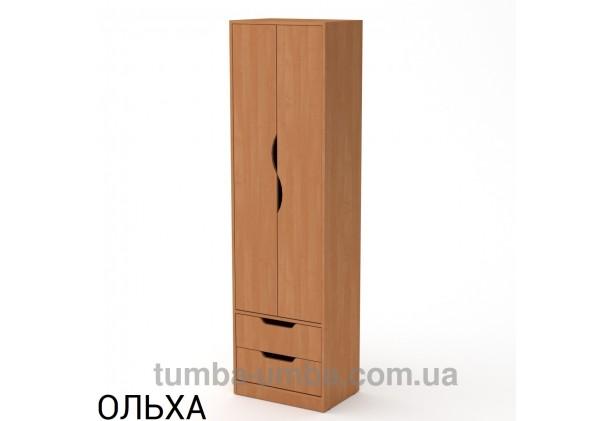 Фото недорогой готовый стандартный платяной Шкаф Фаина ДСП для одежды с выдвижными ящиками в цвете ольха дешево от производителя с доставкой по всей Украине