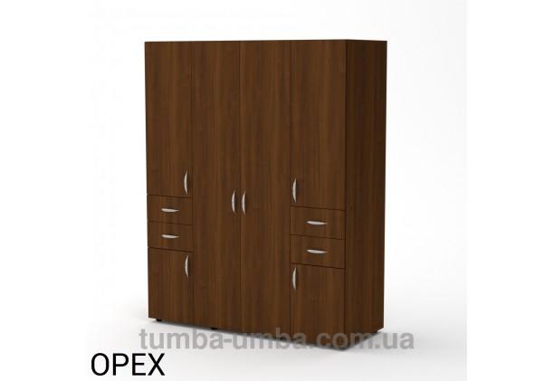 Фото недорогой готовый стандартный платяной Шкаф-20 ДСП для одежды с выдвижными ящиками в цвете Орех Экко дешево от производителя с доставкой по всей Украине