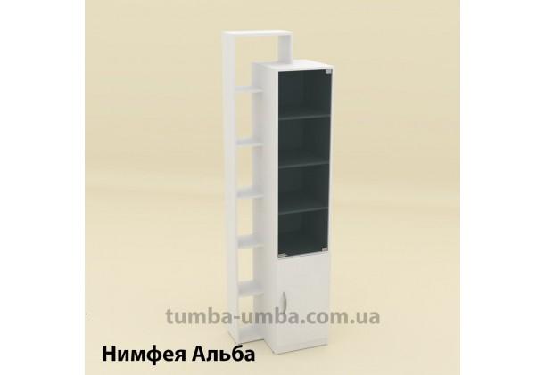 Фото недорогой стандартный мебельный распашной шкаф-пенал-10 ДСП с полками для дома и офиса в цвете Нимфея Альба (белый структурный) дешево от производителя с доставкой по всей Украине