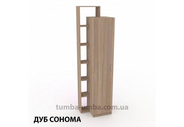 Фото недорогой стандартный мебельный распашной шкаф-пенал-8 ДСП с полками для дома и офиса в цвете дуб сонома дешево от производителя с доставкой по всей Украине