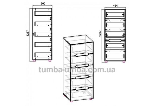 Фото схема-чертёж комода 8 ДСП Компанит с размерами в интернет-магазине эконом-класса TUMBA-UMBA™ Украина