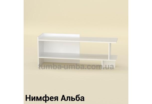 Фото недорогая современная напольная тумба под телевизор и аппаратуру Рига ДСП в цвете Нимфея Альба (белый структурный) дешево от производителя с доставкой по всей Украине