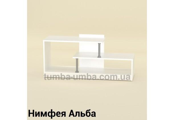 Фото недорогая современная напольная тумба под телевизор и аппаратуру Сумы ДСП в цвете Нимфея Альба (белый структурный) дешево от производителя с доставкой по всей Украине