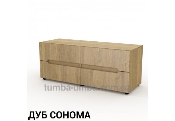 Фото недорогая современная напольная тумба под телевизор и аппаратуру ТВ-5 МДФ в цвете Дуб Сонома дешево от производителя с доставкой по всей Украине