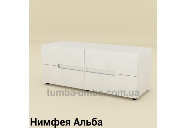 Фото недорогая современная напольная тумба под телевизор и аппаратуру ТВ-5 ДСП в цвете Нимфея Альба (белый структурный) дешево от производителя с доставкой по всей Украине