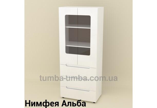 Фото недорогой стандартный распашной Шкаф-21 ДСП с полками для дома и офиса в цвете Нимфея Альба (белый структурный) дешево от производителя с доставкой по всей Украине