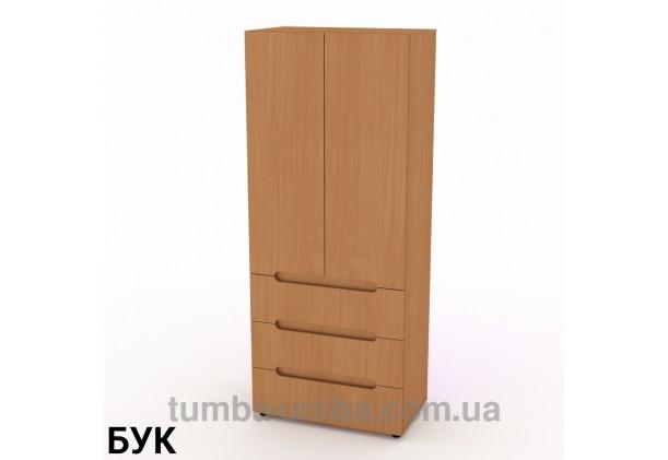 Фото недорогой стандартный распашной Шкаф-22 ДСП с полками для дома и офиса в цвете бук дешево от производителя с доставкой по всей Украине