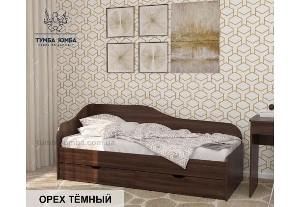 фото односпальная кровать-диван Оскар-1900 с ящиками для хранения белья в цвете орех тёмный дешево от производителя с доставкой по всей Украине