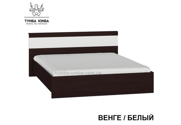 фото стандартная кровать Сон-160 см с ящиками для хранения Алекс в спальню, на дачу или для общежития в цвете венге белый дешево от производителя с доставкой по всей Украине
