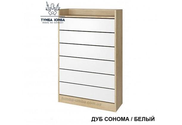 фото недорогой современной тумбы для обуви Обувница-2 Алекс дуб сонома с белым в прихожую в интернет-магазине мебели эконом-класса TUMBA-UMBA™