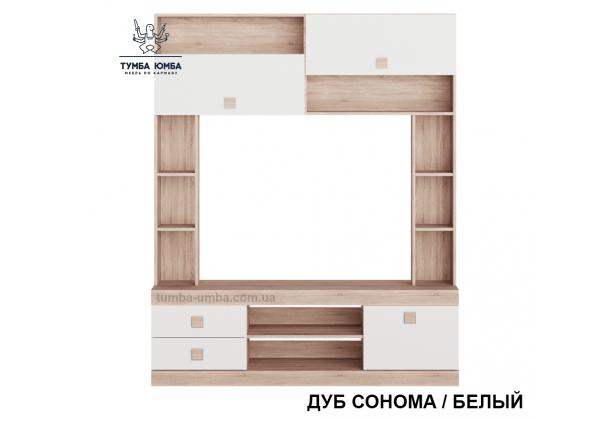 фото недорогая стенка в гостиную Стенка-Сон вид спереди в цвете дуб сонома / белый ДСП Алекс в интернет-магазине мебели эконом-класса TUMBA-UMBA™