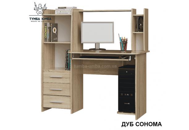 Фото готовый прямой стандартный стол Лира в цвете дуб сонома с надстройкой в офис или домой для ноутбука или ПК дешево от производителя с доставкой по всей Украине