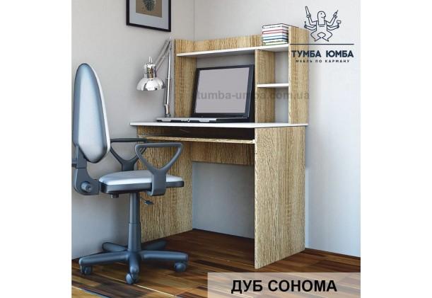 Фото в интерьере готовый прямой стандартный стол Люкс-2 в офис или домой для ноутбука или ПК в цвете дуб сонома дешево от производителя с доставкой по всей Украине