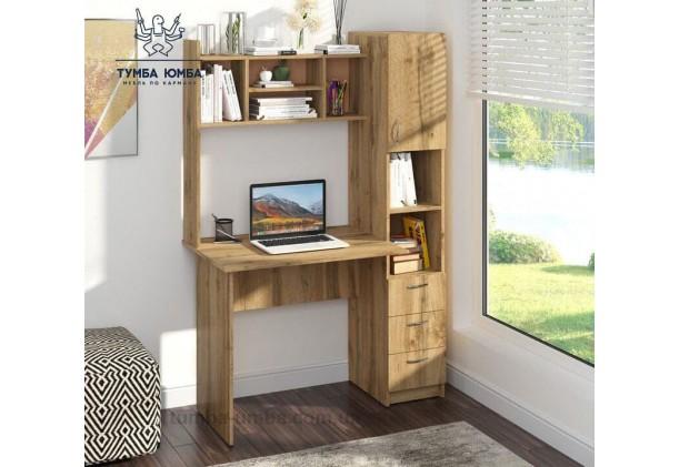 Фото в интерьере готовый прямой стандартный стол Оксфорд в офис или домой для ноутбука или ПК дешево от производителя с доставкой по всей Украине