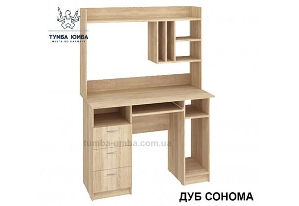 Фото готовый прямой стандартный стол Оскар в цвете дуб сонома с надстройкой в офис или домой для ноутбука или ПК дешево от производителя с доставкой по всей Украине