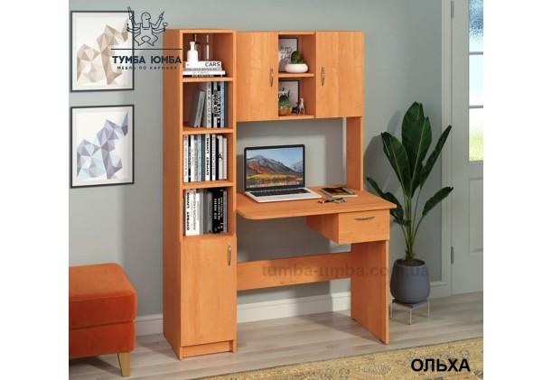Фото в интерьере готовый прямой стандартный стол Пилигрим в цвете ольха в офис или домой для ноутбука или ПК дешево от производителя с доставкой по всей Украине