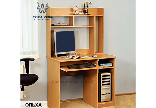 Фото в интерьере готовый прямой стандартный стол СКП-5 в цвете ольха с надстройкой в офис или домой для ноутбука или ПК дешево от производителя с доставкой по всей Украине