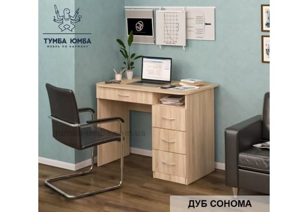 Фото готовый прямой стандартный стол СП-3 в офис или домой для ноутбука или ПК в цвете дуб сонома в интерьере дешево от производителя с доставкой по всей Украине
