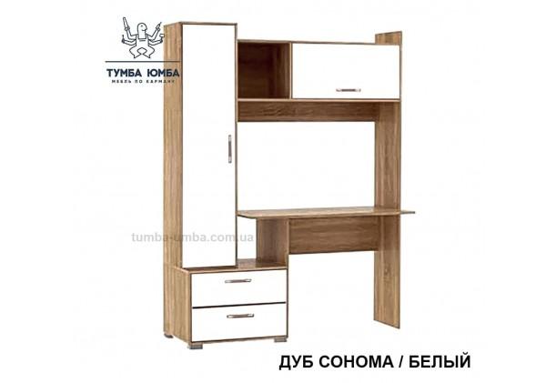 Фото готовый прямой стандартный стол СП-05 в офис или домой для ноутбука или ПК в цвете дуб сонома белый дешево от производителя с доставкой по всей Украине