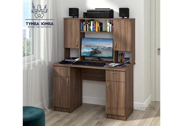 Фото в интерьере готовый прямой стандартный стол Вектор в цвете трюфель с надстройкой в офис или домой для ноутбука или ПК дешево от производителя с доставкой по всей Украине