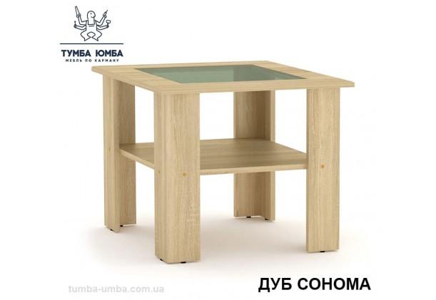 фото недорогой современный журнальный стол Мадрид МДФ Компанит цвет дуб сонома в интернет-магазине мебели эконом-класса TUMBA-UMBA™