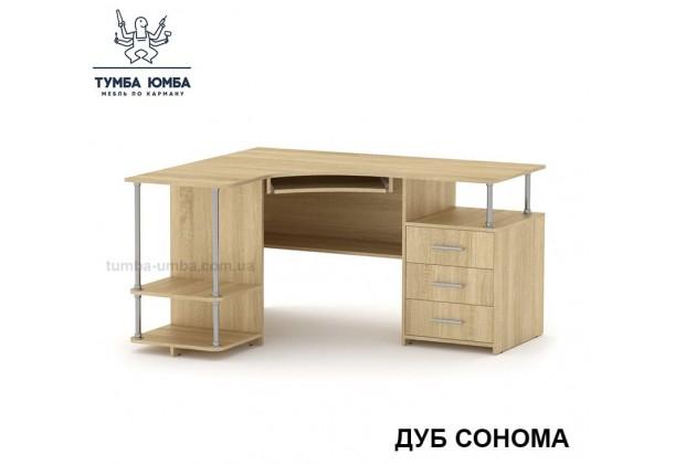 Фото готовый угловой стандартный стол СУ-4 в офис или домой для ноутбука или ПК в цвете дуб сонома дешево от производителя с доставкой по всей Украине