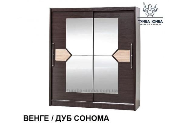 Фото недорогой готовый стандартный шкаф-купе Аляска в цвете Венге темный / Дуб Сонома ДСП для одежды дешево от производителя Мебель-Сервис с доставкой по всей Украине в интернет-магазине TUMBA-UMBA™
