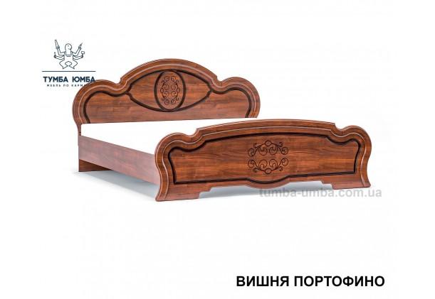 фото стандартная двуспальная кровать МДФ Барокко 160 см в спальню в цвете вишня портофино дешево от производителя с доставкой по всей Украине
