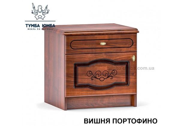 Фото недорогие классические прикроватные тумбочки в спальню Барокко цвет МДФ вишня с ящиком и дверцей дешево от производителя с доставкой по всей Украине