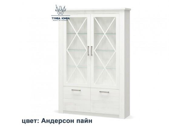 Фото недорогой стандартный мебельный распашной пенал-витрина 2В2Д со стеклянной дверцей Джоржиа ДСП с полками для дома в цвете андерсон пайн дешево от производителя Мебель-Сервис с доставкой по всей Украине в интернет-магазине TUMBA-UMBA™