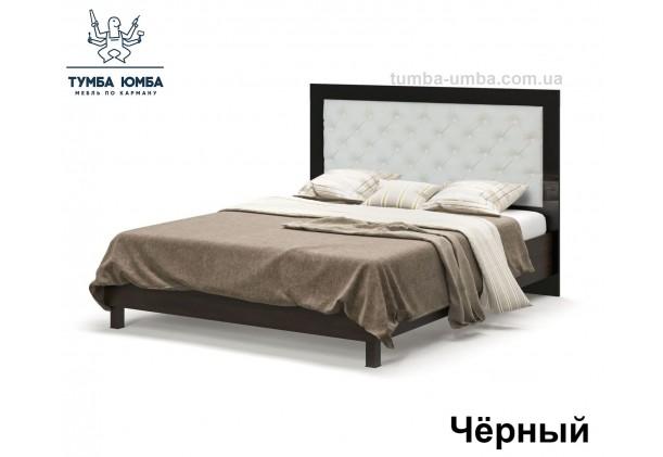 фото стандартная двуспальная кровать Ева 160 см в спальню в цвете черный лак дешево от производителя с доставкой по всей Украине