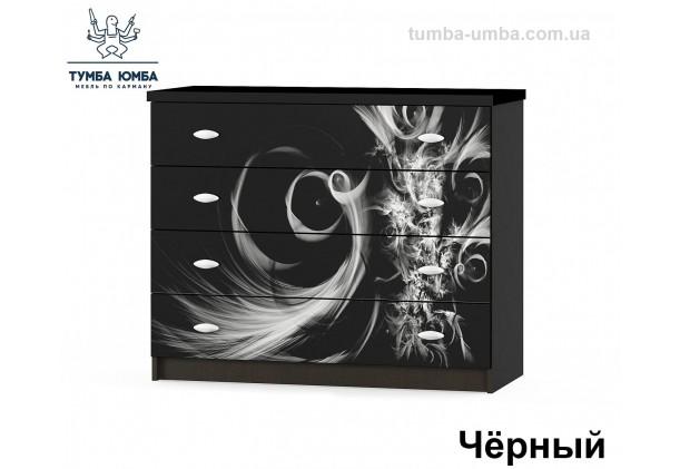 Фото недорогой современный комод Ева Люкс ДСП цвет Лак черный дешево от производителя с доставкой по всей Украине в интернет-магазине TUMBA-UMBA™